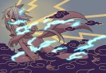 1girl :d akira_(meltyhip) ass blue_tongue brown_eyes claws colored_tongue dark_skin electricity extra_arms fewer_digits from_side grey_hair horns long_hair looking_at_viewer looking_to_the_side monster_girl multiple_tails open_mouth original raijuu sharp_teeth signature slit_pupils smile solo tail teeth two_tails upper_teeth very_long_hair