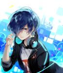 1boy arm_up bangs black_jacket blazer blue_eyes blue_hair gekkoukan_high_school_uniform glowing glowing_hair hair_over_one_eye hand_up happy headphones headphones_around_neck headphones_removed jacket light_smile long_bangs lor_(roasyerizyonirapi) multicolored multicolored_background persona persona_3 persona_3:_dancing_moon_night school_uniform shapes shirt simple_background sleeves_past_elbows sleeves_rolled_up smile solo_focus t-shirt white_shirt yuuki_makoto