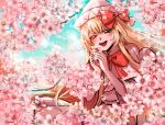 1girl :d blonde_hair blue_eyes bow bowtie capelet cherry_blossoms commentary_request cowboy_shot day dress flower hair_bow hands_up happy hat highres holding holding_flower kuya_(hey36253625) lily_white long_hair looking_at_viewer open_mouth outdoors petals pink_flower red_bow red_neckwear smile solo touhou very_long_hair white_capelet white_dress white_headwear