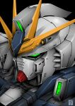 black_background char's_counterattack denjyou23 green_eyes gundam highres looking_ahead mecha mobile_suit no_humans nu_gundam science_fiction solo upper_body v-fin