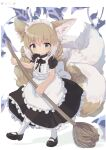 1girl alternate_costume animal_ears apron arknights black_dress black_footwear blonde_hair braid broom closed_mouth commentary_request dress erandhl fox_ears fox_tail frilled_dress frills full_body green_eyes hairband highres holding holding_broom kitsune kyuubi looking_at_viewer maid maid_apron maid_headdress multiple_tails shoes short_hair solo standing suzuran_(arknights) tail twitter_username white_apron white_background