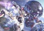 battle beam_saber gundam holding holding_sword holding_weapon lens_flare mecha no_humans signature size_difference sword totthii0081 turn_a_gundam turn_a_gundam_(mobile_suit) wadom weapon
