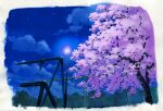 blue_sky border chain-link_fence cherry_blossoms fence highres lamppost night night_sky no_humans original outdoors sawitou_mizuki scan scenery sky swing traditional_media tree watercolor_(medium) white_border