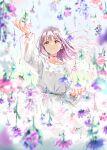 1girl aqua_choker brown_eyes choker dress floating_hair flower flower_choker highres light_purple_hair light_smile original outstretched_hand purple_choker solo tiv white_dress