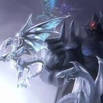 absurdres blue-eyes_white_dragon blue_eyes clenched_hand commentary deep-eyes_white_dragon dragon duel_monster flying highres multiple_heads neo_blue-eyes_ultimate_dragon no_humans obelisk_the_tormentor open_mouth quwrofsk8 sharp_teeth shoulder_spikes spikes teeth wings yellow_eyes yu-gi-oh! yu-gi-oh!_duel_monsters yu-gi-oh!_the_dark_side_of_dimensions