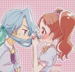 1boy 1girl aji_fry aqua_eyes blue_dress blue_hair blush bow bowtie brown_hair checkered checkered_background collar commentary covered_mouth cravat dress eyebrows_visible_through_hair fake_facial_hair fake_mustache flower_(symbol) food_themed_hair_ornament from_side hair_ornament half-closed_eyes highres kirakira_patisserie_uniform kirakira_precure_a_la_mode leaf_hair_ornament long_hair looking_at_another low_ponytail outline pikario_(precure) pink_eyes pink_neckwear ponytail precure puffy_short_sleeves puffy_sleeves purple_neckwear short_sleeves star_(symbol) strawberry_hair_ornament sweatdrop twintails twitter_username upper_body usami_ichika white_collar white_outline