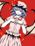 1girl :p bangs bat_wings bow brooch buttons closed_mouth cowboy_shot dress dutch_angle eyebrows_visible_through_hair eyelashes flat_chest frilled_shirt_collar frills hair_between_eyes hands_up hat hat_bow highres jewelry kuya_(hey36253625) looking_at_viewer mob_cap pointy_ears puffy_short_sleeves puffy_sleeves purple_hair red_background red_bow red_eyes remilia_scarlet short_hair short_sleeves simple_background solo tongue tongue_out touhou white_dress white_headwear wings wrist_cuffs