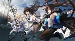 3girls amiya_(arknights) animal_ears arknights ascot bare_shoulders black_collar black_footwear black_gloves black_jacket black_legwear black_neckwear blonde_hair blue_dress blue_eyes blue_gloves blue_hairband blue_skirt braid breasts building chinese_commentary collar copyright_name dress floating floating_hair folinic_(arknights) fox_ears fox_tail gloves hairband hei_xianglian highres holding holding_staff interlocked_fingers jacket jewelry kitsune kyuubi looking_at_viewer mongoose_ears multiple_girls multiple_rings multiple_tails off_shoulder official_art open_clothes open_jacket open_mouth oripathy_lesion_(arknights) pantyhose pleated_skirt rabbit_ears ring shirt sideboob single_glove skirt staff suzuran_(arknights) tail thigh_strap thumb_ring white_jacket white_legwear white_shirt white_wrist_cuffs yellow_eyes