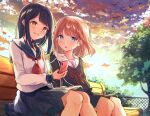 2girls bangs bench bird black_hair black_skirt blue_eyes blush brown_eyes brown_hair cellphone closed_mouth clouds cloudy_sky commentary_request day earphones eyebrows_visible_through_hair fence grass haruaya highres holding holding_phone knees long_hair long_sleeves looking_at_another multiple_girls neck_ribbon original outdoors parted_lips phone red_neckwear red_ribbon ribbon sailor_collar school_uniform serafuku shirt sitting skirt sky smartphone smile sunset tree white_shirt wooden_bench yuri