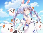>_< 1girl :> :d :o absurdres animal_ear_fluff animal_ears bare_shoulders black_gloves blue_ribbon blush braid breasts bunny-shaped_pupils carrot_hair_ornament closed_mouth clouds cloudy_sky day detached_sleeves dress eyebrows_visible_through_hair food_themed_hair_ornament from_side fur_trim gloves hair_between_eyes hair_ornament highres hololive huge_filesize light_purple_hair long_hair looking_away looking_back multicolored_hair nousagi_(usada_pekora) open_mouth orange_eyes pikao puffy_short_sleeves puffy_sleeves rabbit rabbit_ears rabbit_girl ribbon scarf short_sleeves sidelocks sky small_breasts smile solo thick_eyebrows twin_braids twintails two-tone_hair upper_body usada_pekora virtual_youtuber white_dress white_hair xd