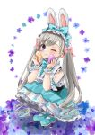 1girl aqua_dress blue_eyes blush dress easter easter_egg egg eyebrows_visible_through_hair grey_hair hair_between_eyes hairband highres idolmaster idolmaster_cinderella_girls idolmaster_cinderella_girls_starlight_stage lolita_fashion lolita_hairband long_hair looking_at_viewer mary_janes one_eye_closed pinafore_dress rino_cnc shoes smile solo squatting twintails