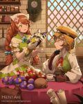 2girls artist_name blue_bow bow braid breasts brick_wall brown_eyes brown_gloves brown_hair brown_headwear capelet center_frills coffee commentary cup day dragalia_lost dress english_commentary flat_cap flower francesca_(dragalia_lost) frills gloves goggles goggles_on_headwear green_dress hair_flower hair_ornament hat head_scarf hentaki holding holding_cup indoors long_hair medium_breasts multiple_girls mushroom nina_(dragalia_lost) pink_flower puffy_short_sleeves puffy_sleeves red_eyes red_flower saucer shirt short_sleeves sleeveless sleeveless_dress striped striped_bow twin_braids very_long_hair watermark web_address white_capelet white_shirt window