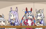 4girls ahoge animal_ears big_belly blue_eyes blush character_request commentary_request dress eating eyebrows_visible_through_hair food full_stomach grey_hair hamu_koutarou highres holding horse_ears horse_girl multiple_girls oguri_cap_(umamusume) open_mouth puffy_short_sleeves puffy_sleeves purple_hair purple_shirt sailor_collar sailor_dress school_uniform shirt short_sleeves skirt tracen_school_uniform umamusume violet_eyes white_skirt