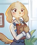 1girl :< absurdres aggressive_retsuko animal_ears animal_nose artist_name blonde_hair blue_background blue_skirt blue_vest blush blush_stickers body_fur book closed_mouth collarbone collared_shirt commentary crossed_arms dog_ears dog_girl dog_tail english_commentary furry highres holding indoors inui_(aggressive_retsuko) long_sleeves looking_ahead office office_lady pencil_skirt plant shirt signature skirt skirt_set solo standing sui_(suizilla) tail upper_body vest white_shirt wide-eyed