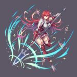1girl action armor attack bangs boots breastplate breasts cordelia_(fire_emblem) dress elbow_gloves english_commentary eyebrows_visible_through_hair fighting_stance fire_emblem fire_emblem_awakening full_body garter_straps gauntlets gloves grey_background hair_between_eyes hair_ornament hair_spread_out holding holding_weapon kaijuicery large_breasts leaning_forward leg_up long_hair looking_to_the_side polearm red_dress red_eyes red_footwear redhead shiny shiny_hair short_dress shoulder_armor sidelocks solo spear swept_bangs thigh-highs thigh_boots weapon