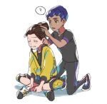 2boys ? adjusting_hair black_pants black_shirt blush brown_hair closed_eyes commentary_request dark_skin dark_skinned_male hop_(pokemon) knee_pads kneeling male_focus master_dojo_uniform multiple_boys pants pokemon pokemon_(game) pokemon_swsh purple_hair shirt shoes short_hair short_sleeves shorts smile spoken_question_mark suruga_dbh victor_(pokemon) yellow_eyes zipper_pull_tab