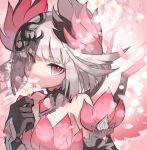 1girl bangs bare_shoulders black_gloves character_request covered_mouth dress eyebrows_visible_through_hair flower gloves grey_hair hand_up highres holding holding_flower kuuron_(moesann17) looking_at_viewer petals pink_dress pink_eyes puzzle_&_dragons see-through solo upper_body veil white_flower