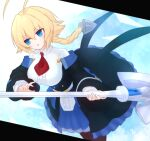 1girl :o ahoge bangs blazblue blonde_hair blue_eyes braid breasts brown_legwear center_frills collared_shirt es_(xblaze) eyebrows_visible_through_hair frills hair_between_eyes huge_ahoge large_breasts long_hair long_sleeves necktie open_mouth pantyhose red_neckwear shirt single_braid skirt solo suta_(clusta) underbust white_shirt xblaze xblaze_code:_embryo