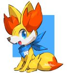 all_fours artist_name bandana blue_background blue_bandana blue_eyes blue_neckwear blush border clothed_pokemon commentary_request fangs fennekin from_side full_body gen_6_pokemon happy looking_at_viewer makoto_ikemu no_humans open_mouth outside_border pokemon pokemon_(creature) pokemon_(game) pokemon_xy profile sideways_glance signature simple_background smile solo tail white_border
