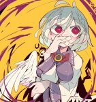 1girl bangs bow bowtie covered_mouth eyebrows_visible_through_hair grey_hair jacket kishin_sagume long_sleeves ma_sakasama red_bow red_eyes red_neckwear short_hair single_wing solo touhou upper_body white_wings wings yellow_background