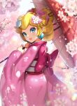 1girl blonde_hair blue_eyes cherry_blossoms earrings gonzarez highres japanese_clothes jewelry kimono looking_at_viewer mario_(series) pink_kimono princess_peach smile umbrella