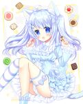 1girl :d ahoge animal_ear_fluff animal_ears bangs blue_bow blue_dress blue_eyes blue_hair blush bow breasts cat_ears cat_girl cat_tail checkerboard_cookie commentary_request cookie dress eyebrows_visible_through_hair feet_out_of_frame food frilled_dress frills hair_between_eyes hair_bow hair_ornament hairclip highres holding holding_food knees_together_feet_apart knees_up long_hair long_sleeves looking_at_viewer open_mouth original shikito single_thighhigh small_breasts smile solo striped striped_legwear tail thigh-highs thumbprint_cookie twintails two_side_up very_long_hair