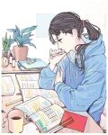 1girl black_hair blue_hoodie book brown_eyes candy clock coffee coffee_cup cup disposable_cup elbows_on_table flash_cards food hair_ornament hair_scrunchie hairclip highres holding holding_pen hood hoodie indoors kko_(um7mr) long_hair looking_down notebook open_book original pen pencil plant ponytail potted_plant profile scrunchie serious sitting solo studying table white_background