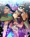 1boy 1girl apex_legends arm_around_shoulder black_headband black_neckwear black_vest blue_dress bright_pupils collared_shirt dark_skin dark_skinned_female disco_ball dress earrings formal goggles green_hair green_jacket grey_shirt hair_behind_ear hand_on_another's_shoulder headband highres jacket jewelry lifeline_(apex_legends) mask mask_pull mouth_mask mozuwaka multicolored multicolored_clothes multicolored_dress necktie octane_(apex_legends) official_alternate_costume pink_hair purple_dress shirt smile suit vest white_pupils