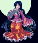 1girl bangs black_background bow bowtie branch covered_mouth frilled_kimono frilled_skirt frilled_sleeves frills full_body full_moon holding holding_branch houraisan_kaguya japanese_clothes kimono long_hair long_sleeves looking_at_viewer mmm_machi moon one-hour_drawing_challenge pink_kimono red_eyes red_skirt skirt sleeves_past_fingers sleeves_past_wrists solo standing touhou very_long_hair white_bow white_neckwear wide_sleeves