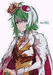 1girl absurdres blurry cape character_name commentary crown depth_of_field fur-trimmed_cape fur_trim gomiyama green_eyes green_hair gumi half-closed_eyes highres king_(vocaloid) light_smile looking_at_viewer orange_vest red_cape shirt short_hair sidelocks sideways_glance sketch smirk solo upper_body vest vocaloid white_background wrist_cuffs yellow_shirt