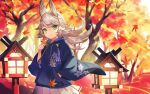 1girl animal_ears architecture autumn autumn_leaves azur_lane blue_hoodie casual east_asian_architecture floral_print green_eyes holding holding_leaf hood hoodie kitakaze_(azur_lane) leaf light_brown_hair looking_at_viewer miniskirt outdoors pleated_skirt skirt solo white_skirt wide_sleeves yoshimo_(yoshimo1516)