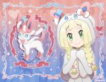1girl akika_821 artist_name bangs blonde_hair blush bow braid character_name closed_mouth eyelashes framed gen_6_pokemon green_eyes hair_bow hands_together hands_up head_tilt hood hood_up lillie_(pokemon) looking_at_viewer pokemon pokemon_(anime) pokemon_ears pokemon_sm_(anime) poncho shiny shiny_hair smile sylveon twin_braids upper_body