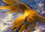 absurdres bird closed_mouth clouds commentary_request day electricity feathered_wings feathers gen_1_pokemon highres huge_filesize legendary_pokemon looking_to_the_side no_humans outdoors pokemon pokemon_(creature) sky solo talons teru_sakura wings zapdos