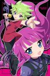 1boy 1girl green_hair kirishima_roa kirishima_romin long_hair pink_hair spiky_hair xxcracy yuu-gi-ou yuu-gi-ou_sevens