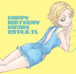 1girl aikatsu! aikatsu!_(series) ass back backless_outfit bare_arms bare_legs blonde_hair blue_overalls braid character_name commentary_request cowboy_shot dated elbow_rest frilled_sleeves frills front_braid green_eyes grin hair_ornament happy_birthday head_rest looking_back lying mizuki_maya on_stomach open_mouth overalls pillow shinjou_hinaki short_hair short_sleeves shoulder_blades simple_background smile solo star_(symbol) star_hair_ornament the_pose thighs yellow_background yellow_sleeves