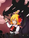 absurdres ascot black_skirt blonde_hair blouse bow bowtie cravat dragon dragon_girl dragon_horns dragon_tail dragon_wings dress_shirt druma fangs hair_bow hair_ribbon highres horns kappamin monsterification necktie outstretched_arms red_bow red_eyes red_neckwear red_ribbon ribbon rumia scales shirt short_hair skirt skirt_set smile spread_arms tail touhou vest white_blouse white_shirt wing_collar wings