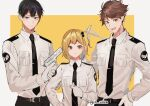 1girl 2boys :d bangs black_eyes black_hair blonde_hair border brown_eyes brown_hair cuffs gloves gun haikyuu!! hand_on_hip handcuffs handgun holding holding_gun holding_weapon joman kageyama_tobio multiple_boys necktie oikawa_tooru_(haikyuu!!) one_side_up open_mouth pistol police police_uniform policewoman shirt short_hair simple_background smile standing twitter_username uniform weapon white_gloves white_shirt yachi_hitoka yellow_background