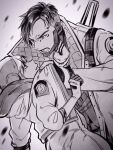 1boy 1girl apex_legends bangs clothes_grab collarbone crypto_(apex_legends) greyscale highres hood hooded_jacket jacket jacket_grab jewelry leaning_forward looking_down looking_up monochrome mozuwaka necklace open_mouth parted_hair parted_lips shouting undercut wattson_(apex_legends)
