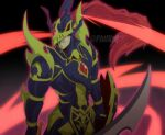 1boy armor artist_name black_luster_soldier closed_mouth colored_skin commentary duel_monster energy english_commentary floating_hair gloves green_skin helmet highres holding holding_shield holding_sword holding_weapon long_hair male_focus phil_vzq ponytail redhead shield solo sword watermark weapon yu-gi-oh!