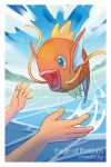 1other artist_name border clouds commentary day english_commentary fish gen_1_pokemon magikarp mootecky open_mouth outdoors outstretched_hand pokemon pokemon_(creature) sky sparkle tongue water water_drop white_border