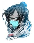 1girl apex_legends bangs blue_eyes copyright_name floating_hair hair_behind_ear hair_bun head_only highres mask mouth_mask mozuwaka scarf solo spot_color v-shaped_eyebrows white_background wraith_(apex_legends)