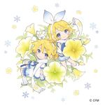 1boy 1girl 1other animal_on_head arm_warmers bare_shoulders blonde_hair blue_eyes blue_shorts bow commentary crypton_future_media flower frilled_shirt frills from_above hair_bow hair_flower hair_ornament hairclip headphones horiizumi_inko kagamine_len kagamine_rin leg_warmers looking_at_viewer looking_to_the_side matching_outfit miniboy minigirl on_head petunia_(flower) rabbit rabbit_yukine scarf shirt short_hair short_ponytail short_shorts short_sleeves shorts sitting sleeveless sleeveless_shirt smile snowflake_print snowflakes spiky_hair standing vocaloid white_background white_bow white_footwear white_legwear white_scarf white_shirt white_sleeves yellow_flower yuki_len yuki_rin