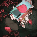 1girl absurdres bag black_hair blurry blurry_background camera camera_around_neck cellphone earrings from_above highres jewelry looking_at_viewer nico-tine one_eye_closed orange_eyes original outdoors petals phone red_nails shadow shoulder_bag solo taking_picture upside-down