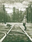 1girl black_eyes dog dog_walking gloves greyscale hand_in_pocket highres kensight328 long_sleeves monochrome original outdoors railroad_tracks shoes signature solo standing wide_shot winter_clothes