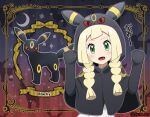 1girl akika_821 artist_name bangs black_gloves blonde_hair blush braid character_name commentary_request cosplay crescent eyelashes fangs framed gen_2_pokemon gloves green_eyes hands_up hood hood_up lillie_(pokemon) open_mouth pokemon pokemon_(anime) pokemon_ears pokemon_sm_(anime) poncho tongue translation_request twin_braids umbreon umbreon_(cosplay)