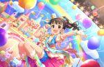 armpits blush brown_eyes brown_hair dress fukuyama_mai idolmaster_cinderella_girls_starlight_stage long_hair ponytail smile