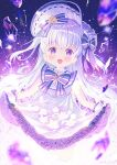 1girl :d bangs blurry blurry_foreground blush bonnet bow commentary_request crystal depth_of_field dress eyebrows_visible_through_hair frilled_dress frills gloves highres ikari_(aor3507) long_hair looking_at_viewer open_mouth original purple_bow silver_hair skirt_basket smile solo star_(symbol) twitter_username two_side_up very_long_hair violet_eyes white_dress white_gloves white_headwear