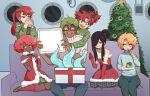 6+boys absurdres antlers aqua_shirt arjun_(ms_pigtails) bare_shoulders black_hair blonde_hair blue_pants box charley_(ms_pigtails) choker christmas_tree couch dark_skin dark_skinned_male eyeball eyebrows_visible_through_hair fake_antlers food fur_trim gift gift_box green_footwear green_hair green_sweater highres ichiro_(ms_pigtails) itsuki_(ms_pigtails) long_hair male_focus ms_pigtails multiple_boys open_mouth original pants pink_hair print_shirt pudding rectangular_eyewear red_legwear redhead roland_(ms_pigtails) santa_costume seiza sergey_(ms_pigtails) shirt short_hair sitting smile socks suction_cups sweater tentacles white_sweater