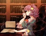 1girl arm_up blue_shirt bookshelf breasts chair clipboard closed_eyes commentary cup desk drinking facing_to_the_side from_side hair_ornament hairband heart heart_hair_ornament highres holding holding_cup indoors inkwell komeiji_satori large_breasts long_sleeves paper_stack parchment purple_hair quill saucer shirt short_hair sitting solo steam sunyup teacup third_eye touhou upper_body