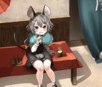 1girl absurdres animal_ear_fluff animal_ears arm_support bangs bench black_dress blue_capelet blush bright_pupils capelet cup curtains dango dress drink eyebrows_visible_through_hair feet_out_of_frame finger_to_mouth food from_above gold_trim grey_hair grin hand_up highres indoors knees_together_feet_apart looking_at_viewer mouse mouse_ears mouse_tail nazrin red_eyes shadow short_hair shushing sitting smile solo steam tail tatano_shito touhou wagashi wall white_pupils